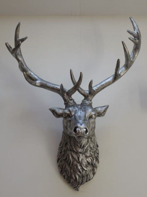Silver Wall Mountable Reindeer Stag Head Silver